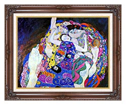 Gustav Klimt The Virgin Detail canvas with dark regal wood frame