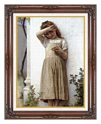 William Bouguereau In Penitence canvas with dark regal wood frame