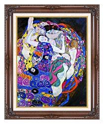 Gustav Klimt The Virgin Portrait Detail canvas with dark regal wood frame