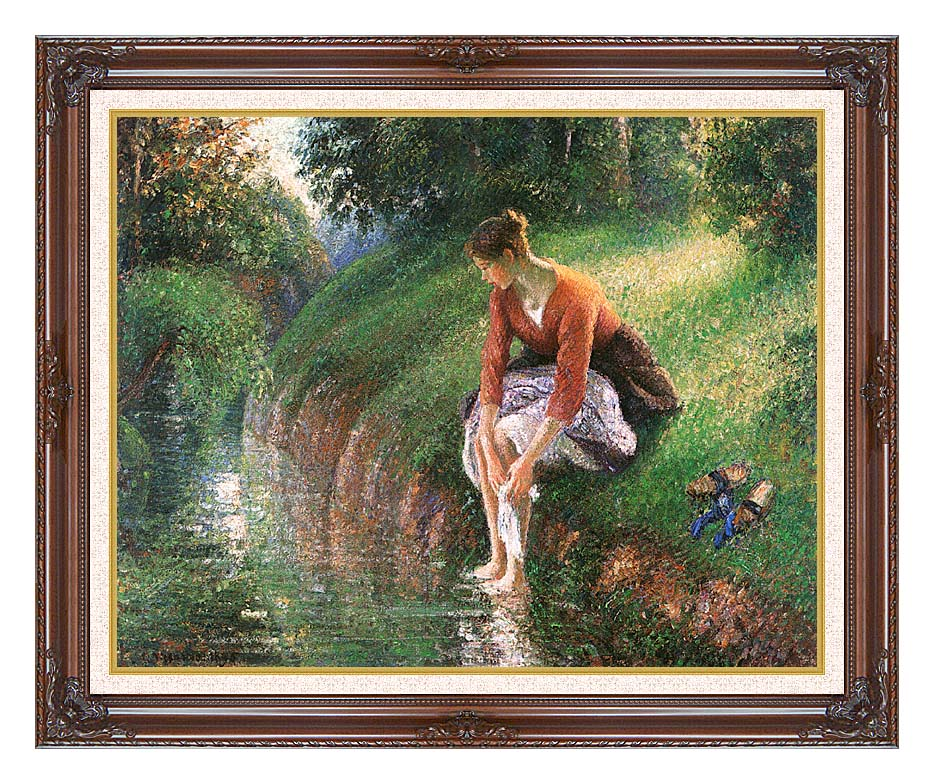 Camille Pissarro Woman Bathing Her Feet with Dark Regal Frame w/Liner