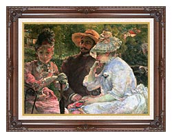 Marie Bracquemond On The Terrace At Sevres canvas with dark regal wood frame