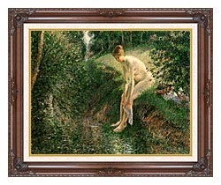 Camille Pissarro Bather In The Woods canvas with dark regal wood frame