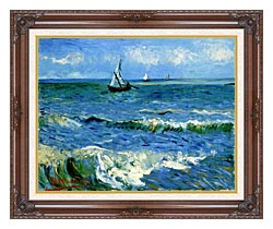 Vincent Van Gogh The Sea At Les Saintes Maries De La Mer canvas with dark regal wood frame