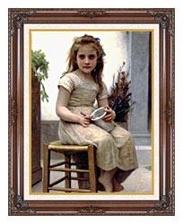 William Bouguereau Just A Taste canvas with dark regal wood frame