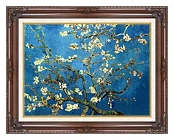 Vincent Van Gogh Almond Blossom Detail canvas with dark regal wood frame