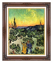 Vincent Van Gogh Landscape With Couple Walking And Crescent Moon canvas with dark regal wood frame