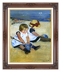 Mary Cassatt Children Playing On The Beach Detail canvas with dark regal wood frame