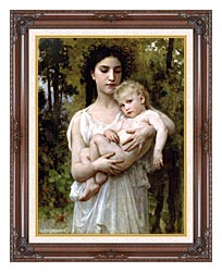 William Bouguereau Little Brother canvas with dark regal wood frame