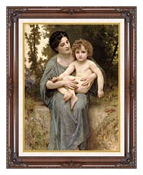 William Bouguereau Young Woman And Little Brother canvas with dark regal wood frame