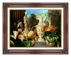 Meiffren Conte Still Life With Precious Vessels canvas with dark regal wood frame