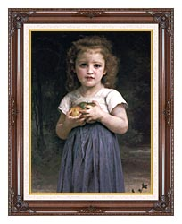 William Bouguereau Little Girl Holding Apples canvas with dark regal wood frame