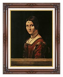 Leonardo Da Vinci Lady In The Court Of Milan canvas with dark regal wood frame