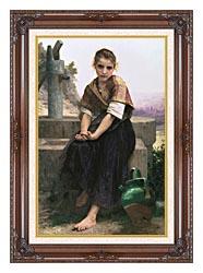 William Bouguereau The Broken Pitcher canvas with dark regal wood frame