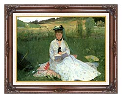 Berthe Morisot Reading Detail canvas with dark regal wood frame