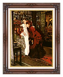 James Tissot Young Ladies Looking At Japanese Objects canvas with dark regal wood frame
