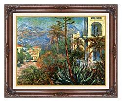 Claude Monet The Villas At Bordighera canvas with dark regal wood frame