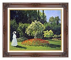 Claude Monet Jeanne Marguerite Lecadre In The Garden canvas with dark regal wood frame