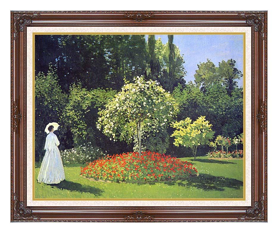 Claude Monet Jeanne-Marguerite Lecadre in the Garden with Dark Regal Frame w/Liner