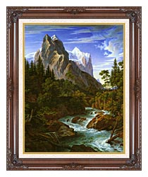 Joseph Anton Koch The Wetterhorn With The Reichenbachtal canvas with dark regal wood frame
