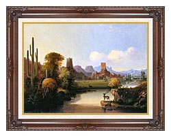 John Mix Stanley Chain Of Spires Along The Gila River canvas with dark regal wood frame
