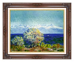 Claude Monet At Cap Dantibes Mistral Wind canvas with dark regal wood frame