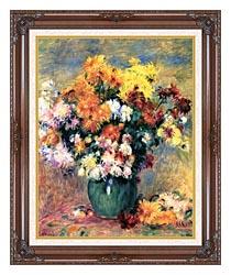 Pierre Auguste Renoir Chrysanthemums In A Vase canvas with dark regal wood frame