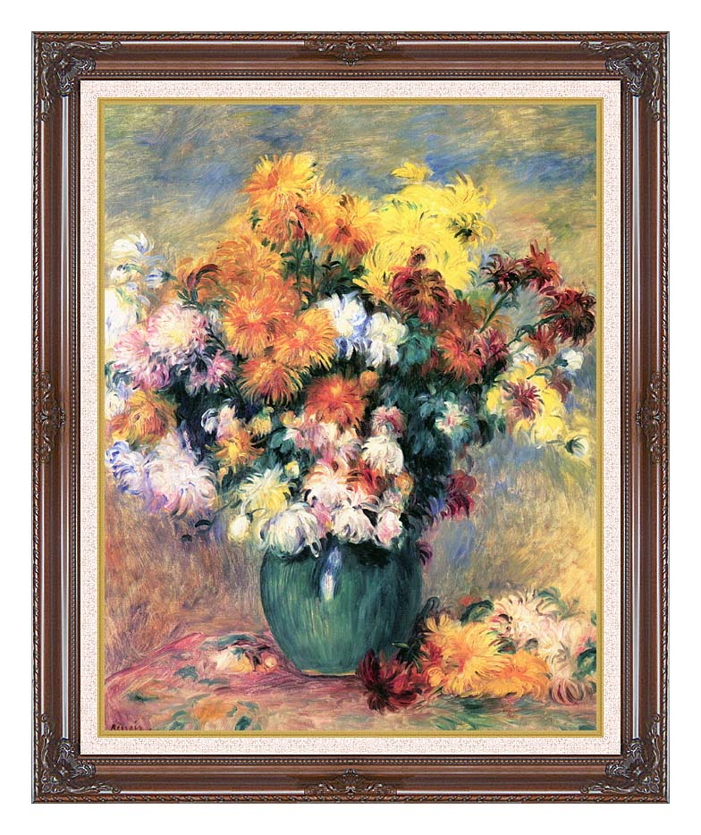 Pierre Auguste Renoir Chrysanthemums in a Vase with Dark Regal Frame w/Liner
