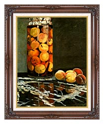 Claude Monet Jar Of Peaches canvas with dark regal wood frame