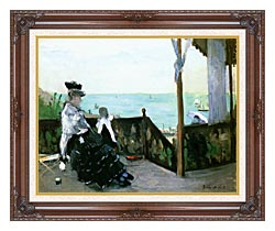 Berthe Morisot In A Villa At The Seaside canvas with dark regal wood frame