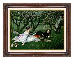 James Tissot Le Printemps canvas with dark regal wood frame