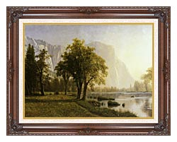 Albert Bierstadt El Capitan Yosemite Valley California canvas with dark regal wood frame