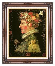Giuseppe Arcimboldo Spring canvas with dark regal wood frame