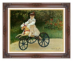 Claude Monet Jean Monet On His Horse Tricycle canvas with dark regal wood frame