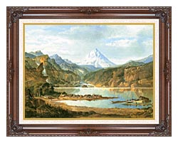 John Mix Stanley Mountain Landscape With Indians canvas with dark regal wood frame