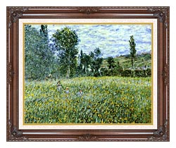Claude Monet A Meadow Outside Vetheuil canvas with dark regal wood frame