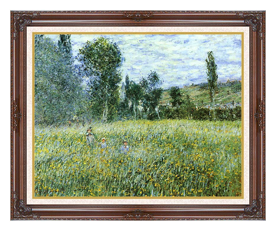 Claude Monet A Meadow Outside Vetheuil with Dark Regal Frame w/Liner
