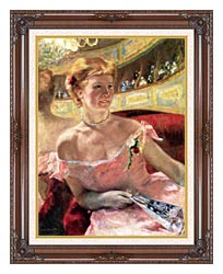 Mary Cassatt Lydia In A Loge Wearing A Pearl Necklace canvas with dark regal wood frame