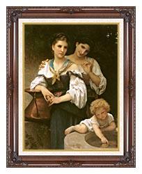 William Bouguereau The Secret canvas with dark regal wood frame
