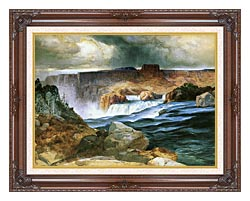 Thomas Moran Shoshone Falls Snake River Idaho canvas with dark regal wood frame
