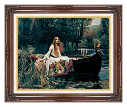 John William Waterhouse The Lady Of Shalott canvas with dark regal wood frame
