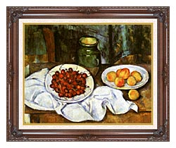 Paul Cezanne Still Life With Cherries And Peaches canvas with dark regal wood frame