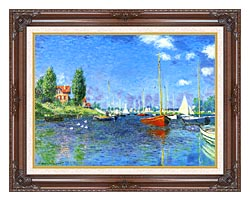 Claude Monet Red Boats Argenteuil 1875 canvas with dark regal wood frame
