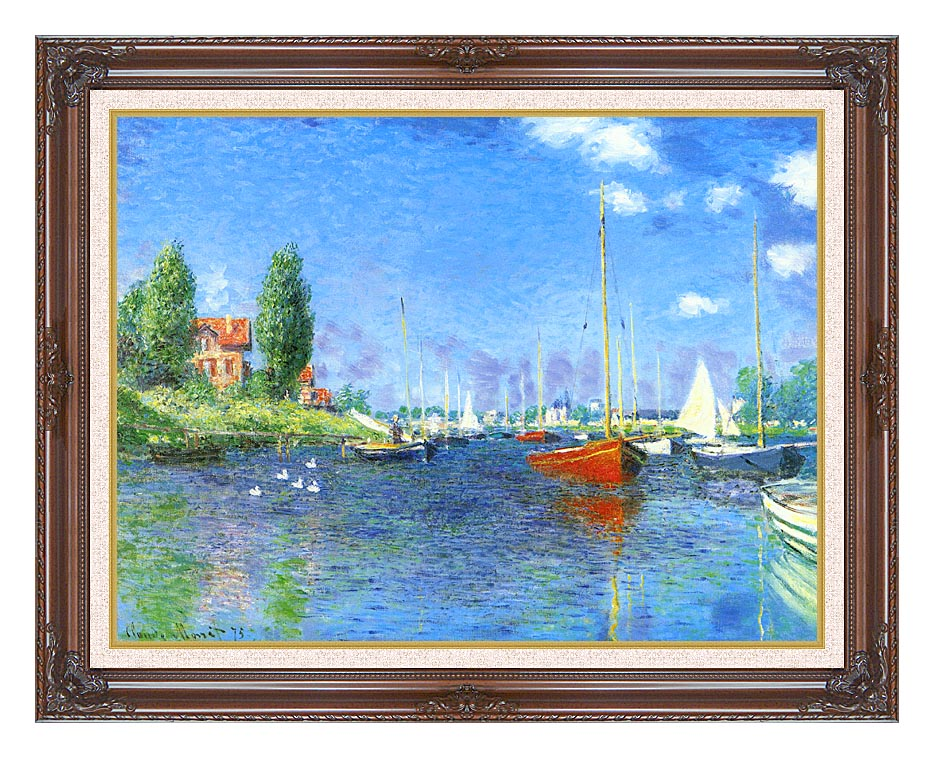 Claude Monet Red Boats, Argenteuil 1875 with Dark Regal Frame w/Liner