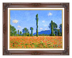 Claude Monet Poppy Field canvas with dark regal wood frame