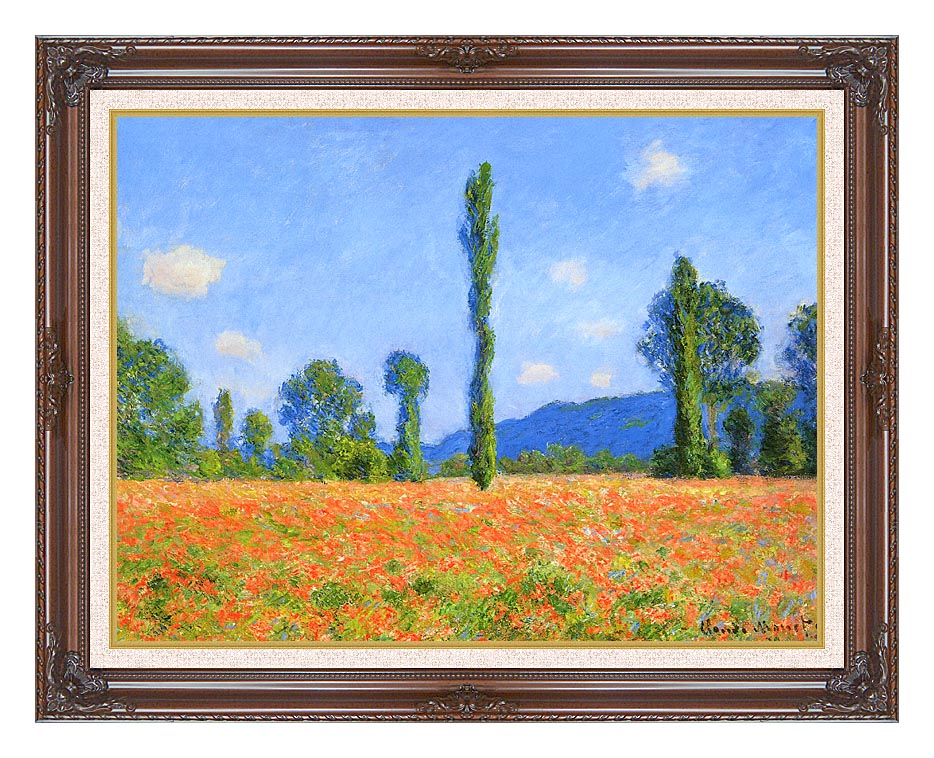 Claude Monet Poppy Field with Dark Regal Frame w/Liner