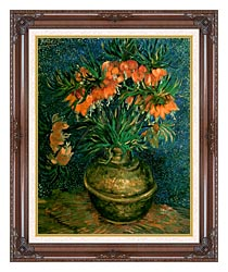 Vincent Van Gogh Fritillaries In A Copper Vase canvas with dark regal wood frame