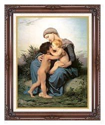 William Bouguereau Fraternal Love canvas with dark regal wood frame