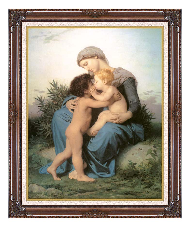 William Bouguereau Fraternal Love with Dark Regal Frame w/Liner
