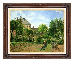 Camille Pissarro The Artists Garden At Eragny 1898 canvas with dark regal wood frame