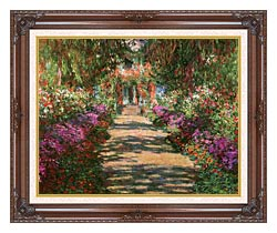 Claude Monet Main Path Through The Garden At Giverny Detail canvas with dark regal wood frame
